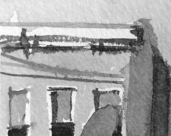 Original Ink Drawing - Baltimore City Row House