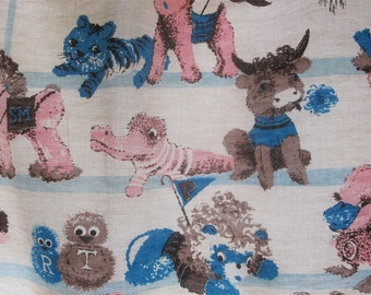 Vintage 1950's 4pc Baby Nursery Curtain Set - Lined Pink & Blue Retro Child's Drapes