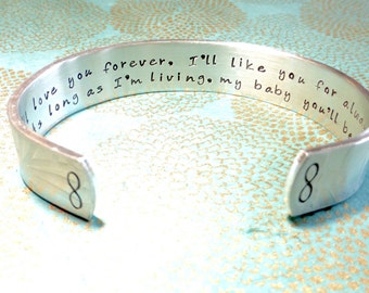 Daughter Gift | I'll love you forever, I'll like you for always As long as I'm living, my baby you'll be. | Custom Hand Stamped Bracelet