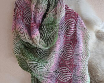Scarf. Knitted shawl. Women's Knitted stole. Big knitted scarf. Fashionable stole. Wool scarf.Brioche stitch. Brioche knitting. Knitted lace