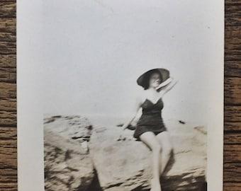 Original Vintage Photograph Beauty on the Rocks