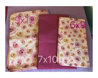 SHIPS FREE!! 40 - Assorted Variety Designer Roses & Pink Poly Mailers with Self Sealing Envelopes perfect as a quick gift wrap