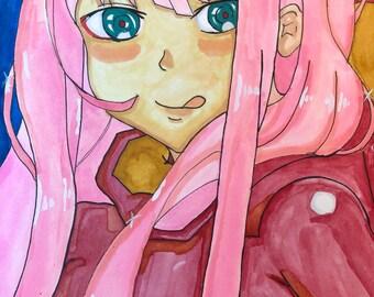 Zero Two From Darling In The Franxx Momic Manga Fanart watercolor copic marker