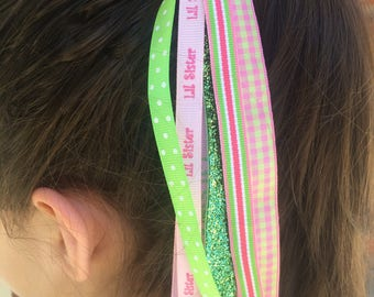 Little Sister Ponytail Streamer, Pink Green, Hair Streamer, Ribbon Streamer, Ponytail Holder, Sister Accessories, Handmade Accessories