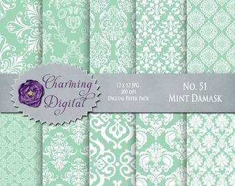 Mint Damask Digital Paper, Mint Scrapbooking Paper, No. 51 Mint Damask