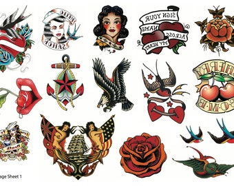 Traditional Temporary Tattoos - Vintage Temporary Tattoos - Sailor Jerry Temporary Tattoos - Retro Temporary Tattoos - Tattoo - Tattoos