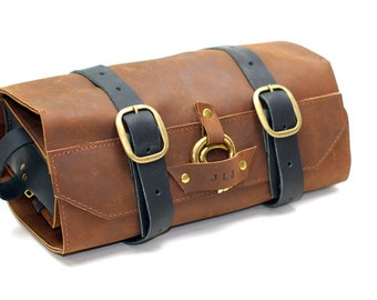 Men's Toiletry Roll - Shaving Kit - Grooming Leather Shave Bag Gift for Husband Wedding Anniversary Wet Shaving