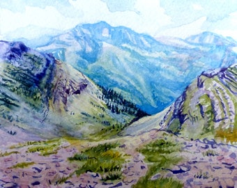 Mountain Depths - Watercolor Painting Reproduction Print