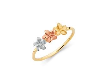 14K Tricolor Plumeria Ring, Plumeria Ring, Gold Ring, Plumeria Jewelry, Floral Jewelry, Floral Ring, Flower Ring, Fancy Ring, Ring, Plumeria