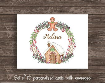 Watercolor Gingerbread Wreath Personalized Note Card Set of 10 cards Stationery Notecard