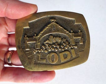 1970s Lodi Solid Brass Belt Buckle, D Stewart and Co, Manly Gift, Lodi California Archway, Grapes Winery Vineyard Jackpot Jen Vintage