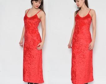 Jahrgang 90er rotem Samt Riemchen Kleid / rot samt Maxi Kleid / ärmellos Maxi rotes Kleid