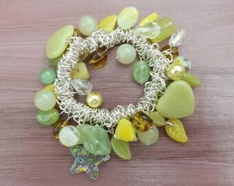 Jade and glass bracelet, stretch elastic bracelet, pale green and yellow spring bracelet