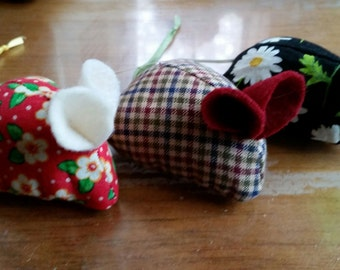 Three handmade organic catnip mice