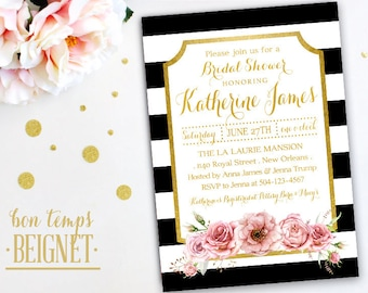 Floral with Black and White Stripe Bridal Shower Invitation - 5x7 Printable Invitation -  Black and White stripes with Floral  accent