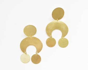 Large Brass Geometric Earrings
