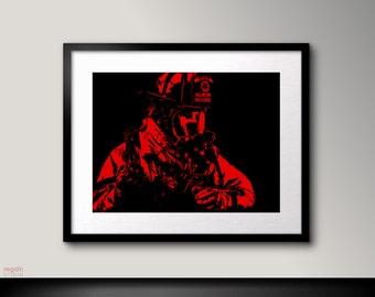 Black and red art, Firefighter wall art, Fireman decor, Black and red printable art, Firefighter decor, Firefighter art print, Black art