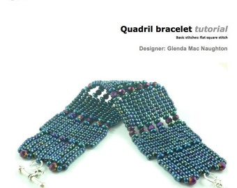 Quadril square stitch bracelet: Instant Downloadable Pattern PDF File