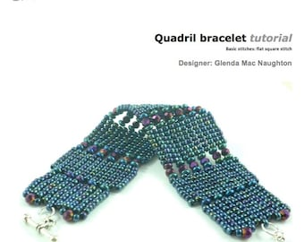 Quadril square stitch beaded cuff bracelet  tutorial and instructions: Instant Downloadable Pattern PDF File