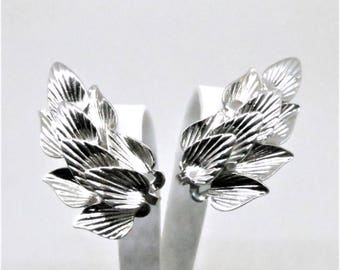 Floral Earrings - Vintage, Star Signed, Silver Tone, Clip on