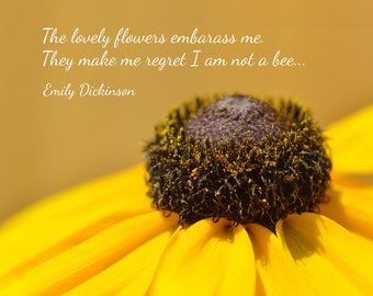 Emily Dickinson quote print, The lovely flowers embarass me, poetry poster, typographic art print