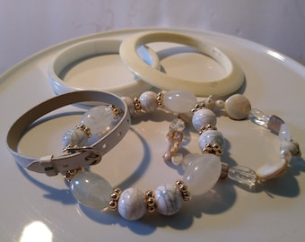 White Bracelet bundle Vintage to Now