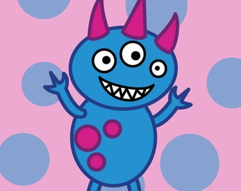 Cute Monster Children's Wall Art, Blue and Pink Digital Art Print, Polka Dot Nursery Decoration with Monsters Theme, Magenta and Turquoise