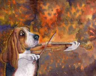 Basset hound 5x7 8x10 11x14 art print violin playing dog bow hold fiddle musical instrument strings from a Susan Alison watercolor painting