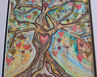 LOVE TREE, Tree of Life Original Watercolor Painting Collage Art, Anniversy, Wedding gift, Custom, Personalized, Family Tree