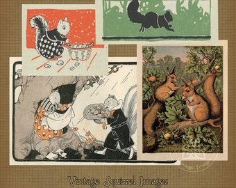 Vintage Squirrel Images  Collage Sheet Fall Digital Download