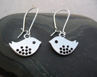 Mod Silver Bird Earrings - Simple Everyday Bird Jewelry  - Sparrow Swallow Silver Earrings