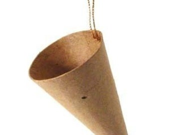 5 Small Papier Mache Cone Ornaments (Paper Mache)