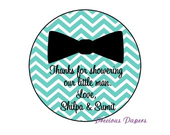 Personalized PRINTED aqua and black bow tie stickers baby shower sticker teal and black chevron baby shower favor stickers