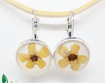Real flower earrings, yellow flower earrings, pressed flowers earrings, resin earrings, real flower jewellery