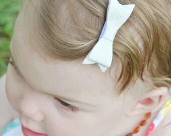 "White Iridescent Glitter Felt Tuxedo Bow  ~2"" Hairbow ~Small Bow ~Girls Barrette ~Toddler Bow ~ Baby Hair Bow ~ Hair Clip ~ Girls Hair Bow"