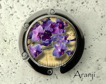 Purple orchid purse hanger, tabletop purse hanger, purse hanger, purse hook, flower purse hook, flower purse hanger, orchid hanger PL153PH