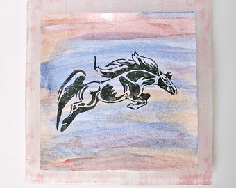 Watercolor Equine Fused Glass Art Fused Glass Dish Equestrian Home Decor Horse Decor Horse Painting Glass Plate