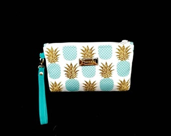 Aqua Pineapple Glitter Wristlet - iPhone 6+, Samsung 8+