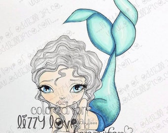 INSTANT DOWNLOAD Whimsical Big Eye Mermaid Digital Stamp - Nixie Spirit of the Sea Image No.320 by Lizzy Love
