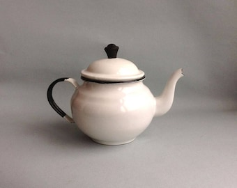 Vintage white enamel teapot Small Soviet kettle Retro enamel tea pot Old enameled kettle white Soviet vintage teapot Enamel Coffee pot