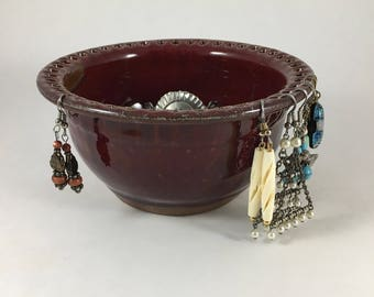 Jewelry Storage Bowl, Pottery Earring Holder, Ceramic Ring Dish, Red Stoneware Bowl, Handmade Pottery, Handthrown, Ready to Ship!!