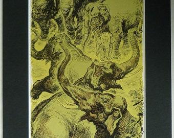 1950s Vintage Mounted Print of a Herd of Indian Elephants by Henry C Pitz Beautiful elephant decor, wonderful asian art - Yellow Wall Art
