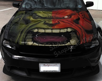 Vinyl Car Hood Full Color Graphics Decal The Incredible Hulk Face Sticker