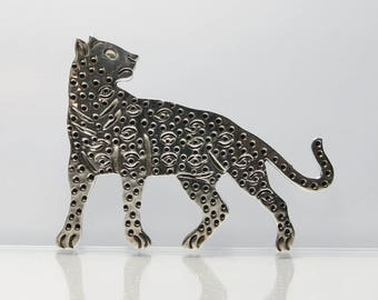 Mexican Sterling Silver Leopard Brooch Signed Mexico 925 TF39