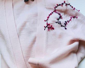 Hand Embroidered Soft Pink Extra Fine Merino Wool Super Soft Cardigan! Banana Republic!