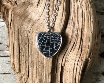 Real Spider Web Pendant, Spider Web Necklace, Pink Heart Necklace, Halloween Jewelry, Genuine Spider Web, Preserved Spider Web