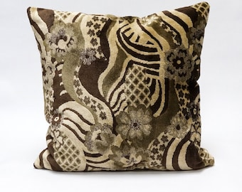 Brown Velvet Pillow Cover 18x18, unique pillow case, upholstery fabric, luxury designer pillow, decorative couch pillow handmade by EllaOsix