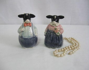 FAT Mr. and Mrs. Cow Salt and Pepper Shakers Made in Japan Mid Century Kitchen Items Collectibles