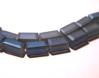 5 pearls cuboid 8 mm - frosted - glass electroplate Rainbow plate-blue iridescent - F64-1