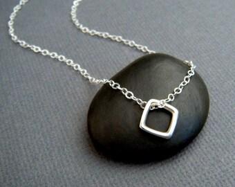 "tiny silver necklace. square diamond shape. silver geometric necklace. sterling silver. everyday necklace. zen jewelry. minimalist 3/8"""